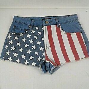Forever21 American Flag Denim Shorts